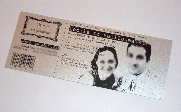 Un ticket de concert, un billet de match ou un CD pour annoncer votre mariage en musique?