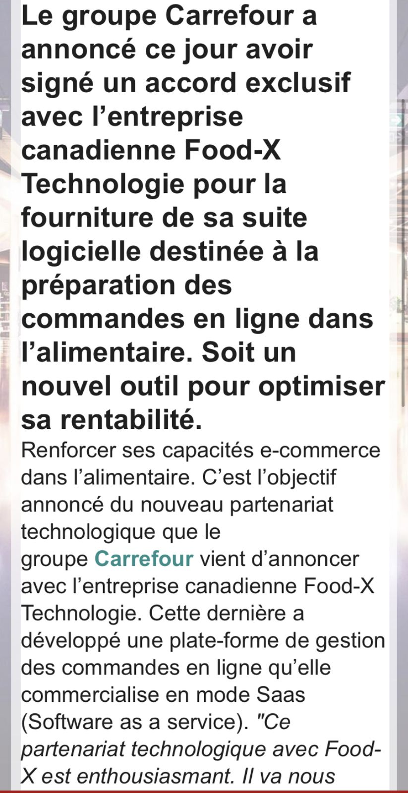 É-commerce le groupe Carrefour signe un nouveau partenariat tech avec Food-x Technologie