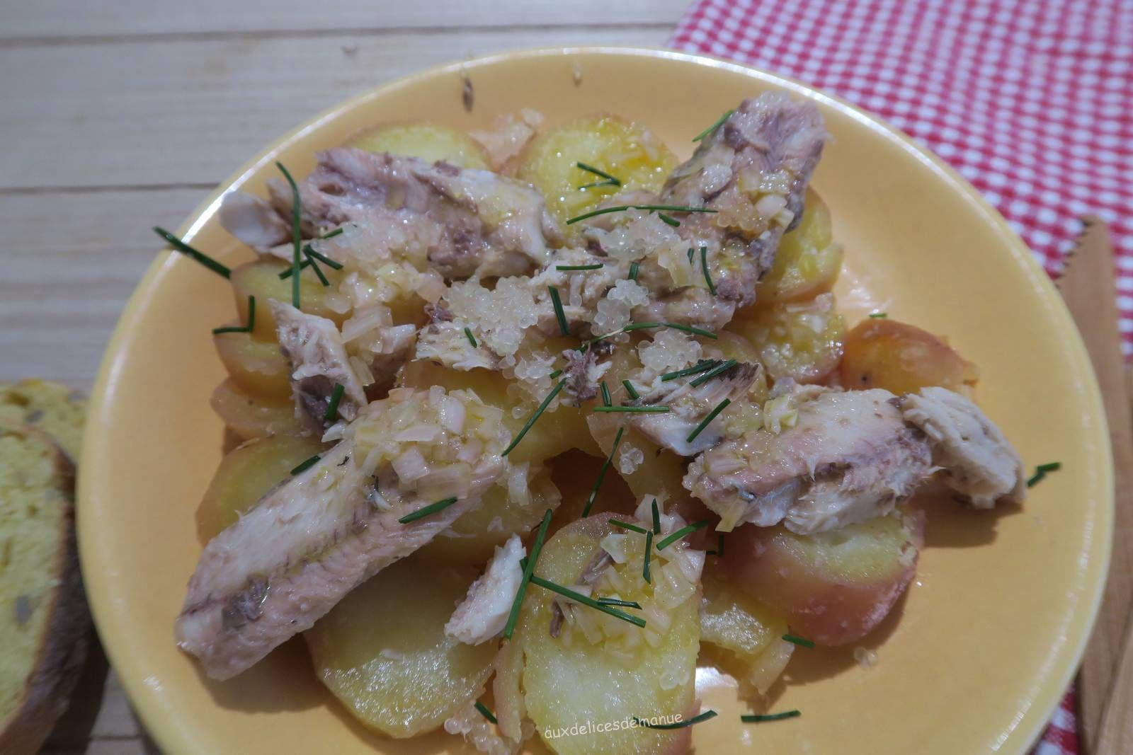 Salade tiède de pommes de terre et sardines au citron caviar