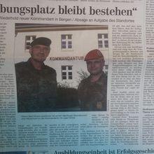 Cellesche Zeitung 28.9.13 -- Kommandant will Truppenübungsplatz Bergen behalten