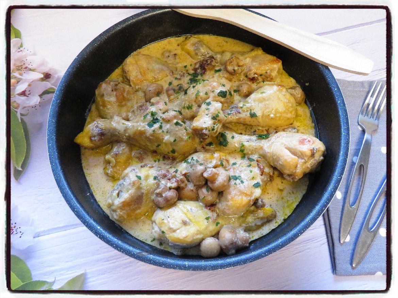 poulet crème béchamel champignons