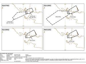 Anak Krakatau - avis de dispersion des cendres pour les 2 et 3 janvier 2019 - Doc.VAAC Darwin - un clic pour agrandir