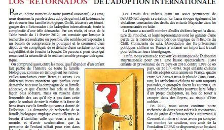 Le LAMA N°22 - Hiver 2012 (Journal de l'Association des Familles Adoptives d'Enfants Nés Au Chili)