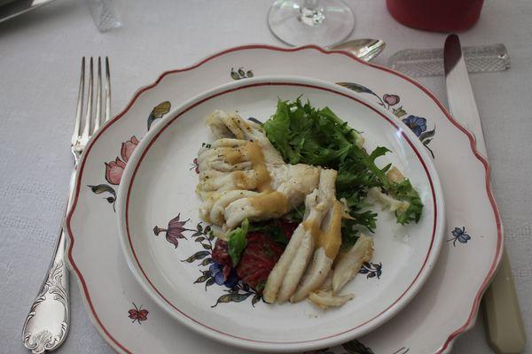 Salade de raie à la vinagrette de framboise