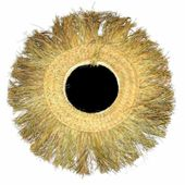 Miroir soleil vintage en herbe tressée. Grands formats de 60 à 90 cm