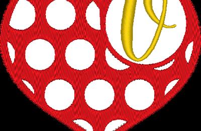 ABC cœur à pois: la lettre V