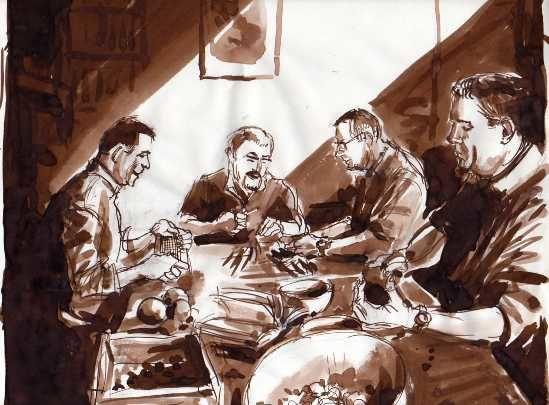 Rapides enregistrements de poilade ou de tendresse avec les proches ; toujours le crayon à la main le François.