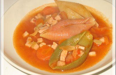 Soupe de conchiglioni aux carottes