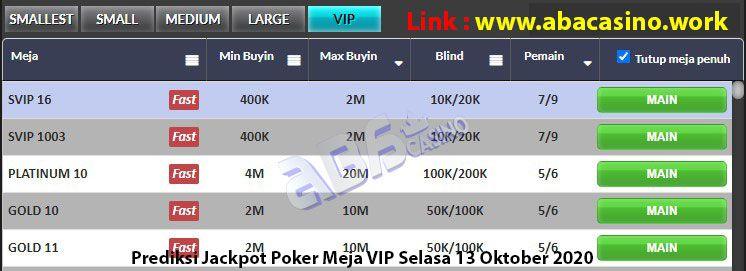 Bocoran Jackpot Poker Meja VIP Selasa 13 Oktober 2020