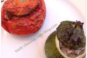 Courgettes rondes et tomates farcies