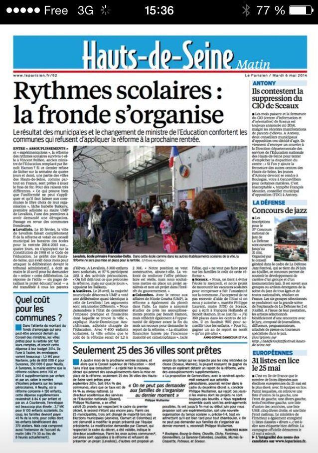COLOMBES - REFORME DES RYTHMES SCOLAIRES : NICOLE GOUETA VA FORMER UN RECOURS