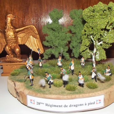 DRAGONS A PIED .........28éme REGIMENT,LE DIORAMA