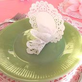 """DIY """"Paper Lace"""" Place Card - Pretty and easy to make for a large luncheon!"""