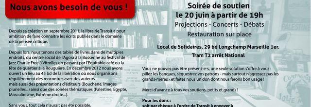 20/06/14 - Soirée de soutien à la librairie Transit - Marseille