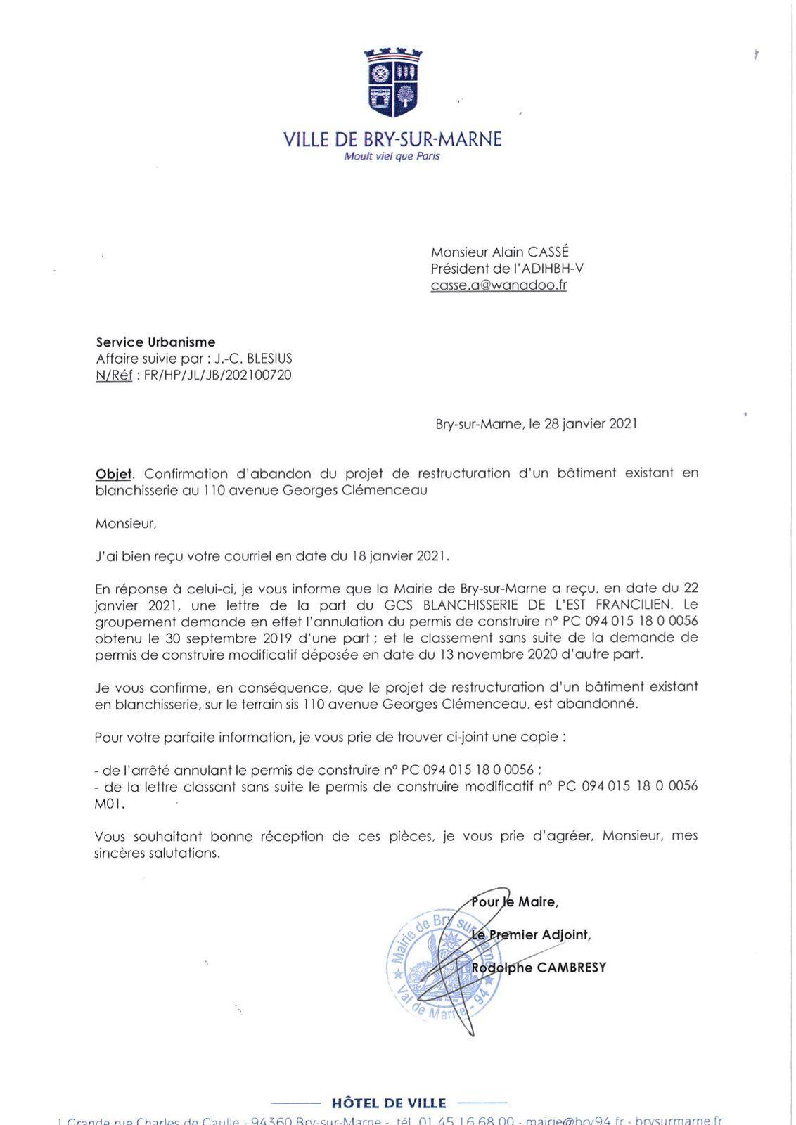 Blanchisserie GCS. La Mairie de Bry sur Marne informe l'ADIHBH-V