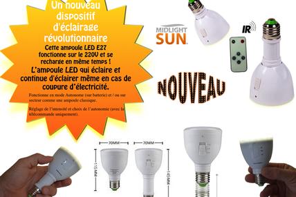 Midlightsun-ampoule leds rechargeable-lampe leds rechargeable