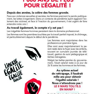 du 6 au 8 mars, mobilisés pour les droits des femmes dans le Finistère