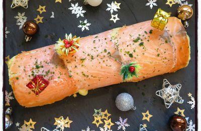 Bûche au saumon, pommes de terre et mozzarella