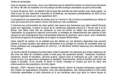 La section de Pierre-Bénite - 69 - demande le report de la conférence régionale Aura prévue le 7 février
