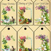 Printable Greeting Tags with Antique Floral Images - Knick of Time
