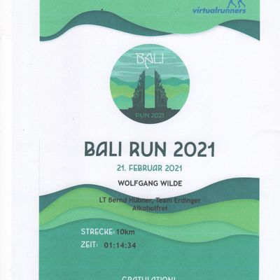 Bali Dream Run am 20. Februar 2021 und MTB Tour