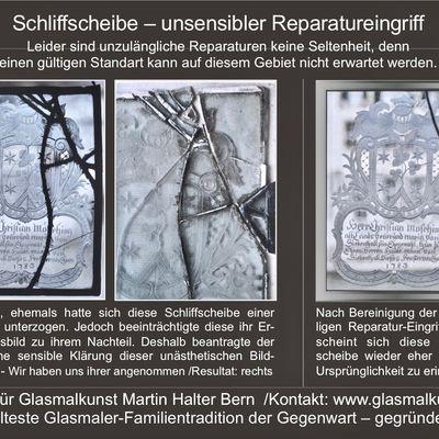 Schliffscheiben-Schaedigung (Vorsicht) Restauratoren-Atelier Martin Halter, Glasrestaurator Bern