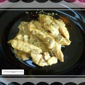 Aiguillettes de poulet aux champignons sauce crème fraîche et curcuma - L'art d'accompagner les restes