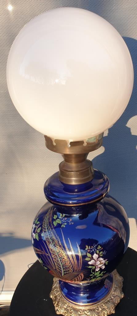 Lampe céramique oiseaux lyres sur fond bleu nuit Napoléon III - 170 euros