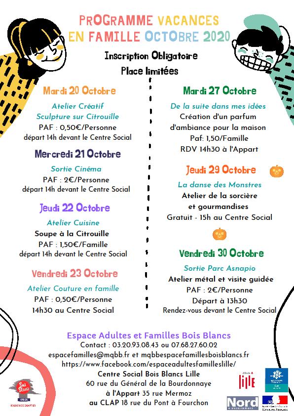 Découvrez le programme vacances activités parents/enfants octobre 2020 Lille Bois Blancs