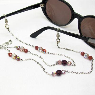 Cordon lunettes perlé, perles verre de bohème, bijou pour lunettes, cadeau femme