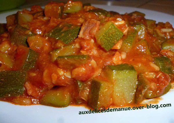 mijoté de courgettes au jambon et pâte curry