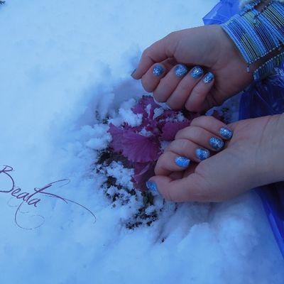 Bordeaux enneigé - Nail art flocons de neige - Snowy nails