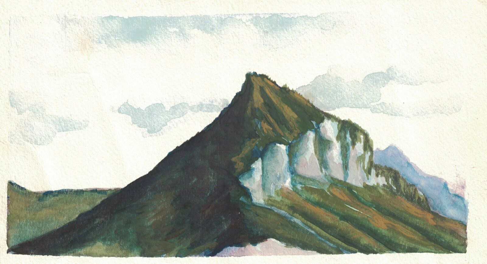 """ Le Néron"", aquarelle de Chantal Roux; 1997/ 18X10cm; Collection particulière.)"