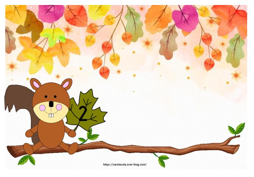 Jeu 2 : regarder combien de noisettes veut l'écureuil et les placer sur la branche