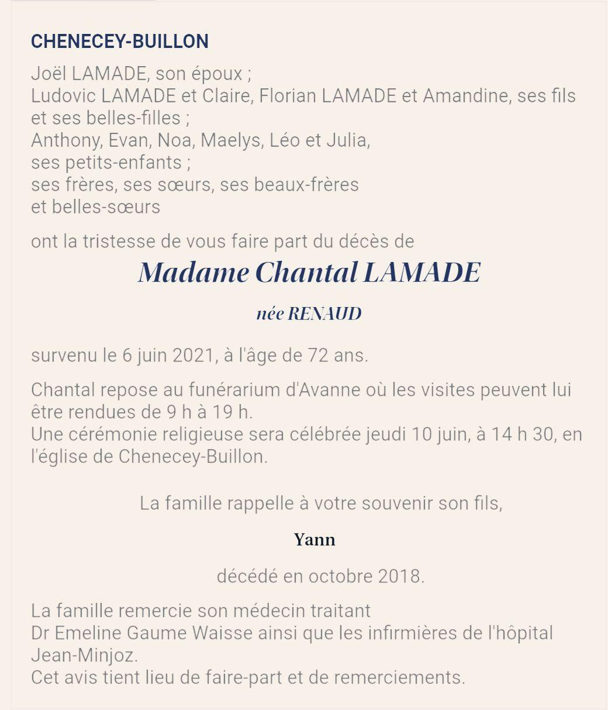 Décès de Mme Chantal LAMADE