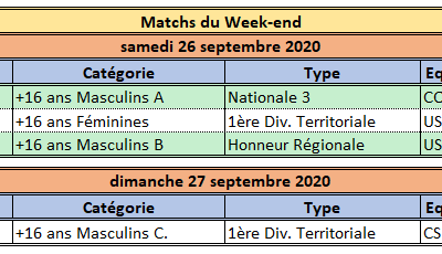 Week-end du 26 / 27 Septembre 2020