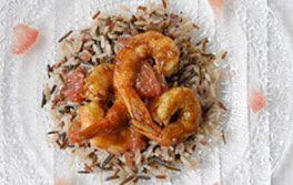 Idée recette du week-end : Gambas sautées au pamplemousse et riz sauvage