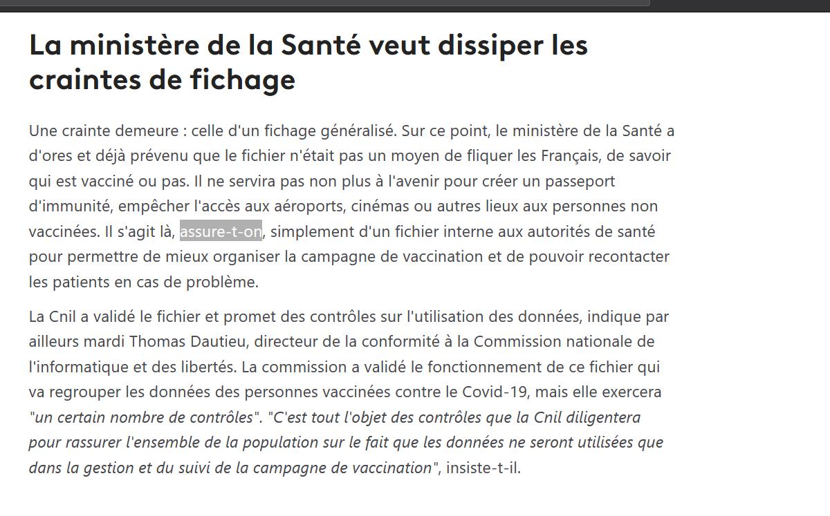 https://www.francetvinfo.fr/sante/maladie/coronavirus/vaccin/covid-19-le-gouvernement-met-en-place-un-fichier-dinformation-pour-collecter-des-donnees-sur-la-vaccination-des-francais_4237477.html