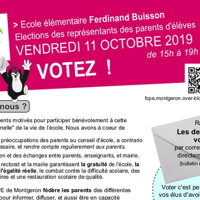 Vote des représentants de parents d'élèves, cette semaine jusqu'au 11 octobre !