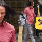 Keanu Reeves takes acoustic guitar on Bill & Ted 3 set