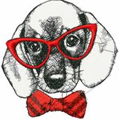 Dog hipster photo stitch free embroidery design