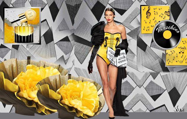 Elégance en jaune et noir  ou fleuri