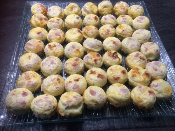 Mini croques quiches au jambon