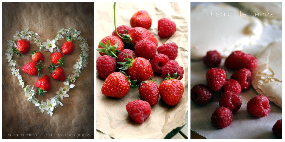 Gâteau meringué aux fraises et framboises fraiches