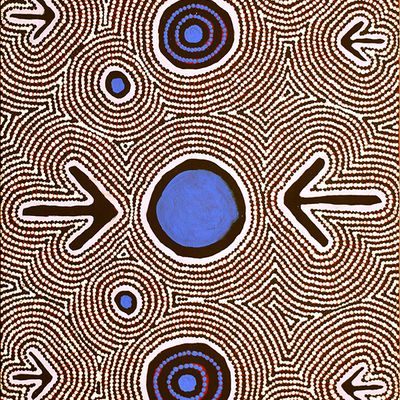 Focus sur une peinture pointilliste aborigène de Zenaida Gallagher Nampijinpa