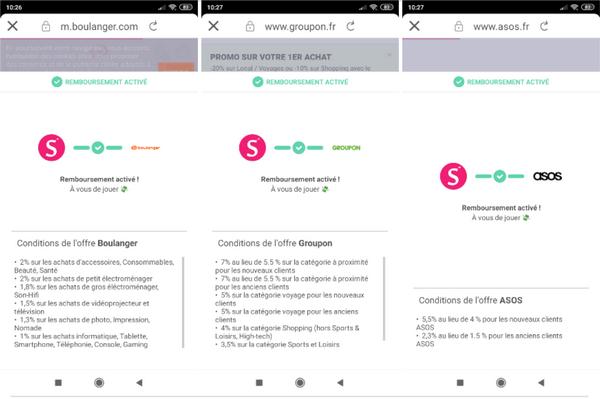 Captures d'écran de la nouvelle fonction cash-back sur smartphone de Shopmium @ Tests et Bons Plans