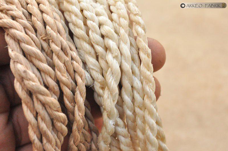 Vue de détail des cordes en liber (à gauche) et tendon (à droite).