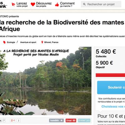 AB soutient le projet : A la recherche de la Biodiversité des mantes d'Afrique
