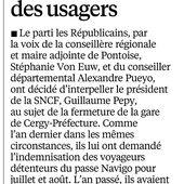 RER A : la droite réclame l'indemnisation des voyageurs (le Parisien Val d'Oise) - Le blog des Républicains de Cergy
