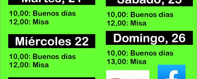 Horarios transmisiones II SEMANA DE PASCUA